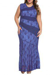 Plus Size Bodycon Lace Maxi Party Dress -