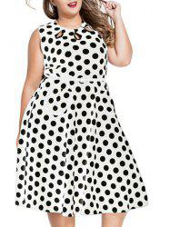 Sweet Round Neck Sleeveless Polka Dot Print Women's Plus Size Dress
