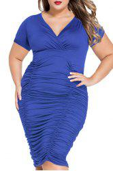 V-Neck Plus Size Short Sleeve Ruffled Cocktail Dress - BLUE L