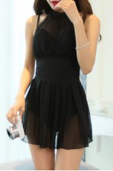 Elegant See-Through Solid Color One-Piece Swimwear For Women