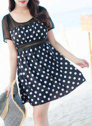 Chic Polka Dot Printed One-Piece Dress Swimwear For Women