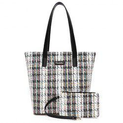 Casual Color Block and Checked Design Tote Bag For Women -