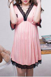 Stylish V Neck Half Sleeve Lace Splicing Women's  Plus Size Babydoll