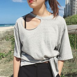 Trendy Short Sleeves Hollow Out Lace-Up Women's T-Shirt -