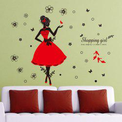 Flowers and Shopping Girl Pattern Wall Stickers For Girl Bedrooms