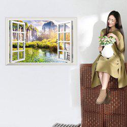 Faux Window Landscape Pattern 3D Wall Stickers For Girl Bedrooms - COLORMIX