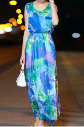 Fashionable Sleeveless Scoop Collar Colorful Women's Maxi Chiffon Dress
