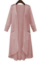 High Low Long Sleeve Long Open Front Cardigan - PINK XL