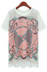 Chic Round Collar Floral Print High Low Short Sleeve T-Shirt For Women -