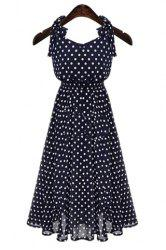 Polka Dot Chiffon A Line Sleeveless Dress