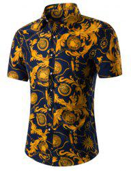 Casual Short Sleeves Plus Size Plant Printed Turn Down Collar Shirt For Men