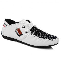 Fashionable Metal and Splicing Design Casual Shoes For Men - WHITE