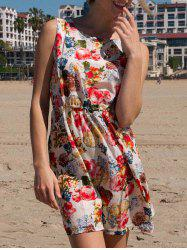 Floral A Line Chiffon Printed Dress - BEIGE