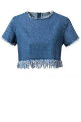 Chic Short Sleeve Frayed Women's Denim Crop Top -