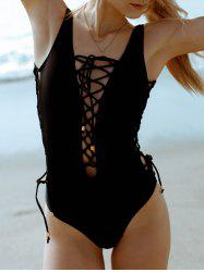 Sexy Sleeveless Lace-Up Hollow Out One-Piece Women's Swimwear