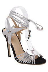 Trendy Lace-Up and Stiletto Heel Design Sandals For Women