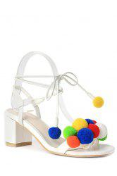 Trendy Colorful Pompon and Chunky Heel Design Sandals For Women