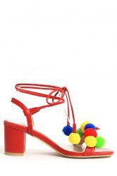 Trendy Colorful Pompon and Chunky Heel Design Sandals For Women -