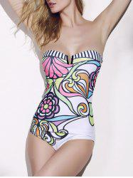 Strapless Printed One Piece Monokini Swimsuit - AS THE PICTURE