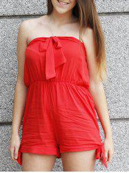 Tie Knot Bandeau Beach Romper - RED