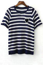 Stylish Round Neck Short Sleeve Striped Knit Women's T-Shirt -