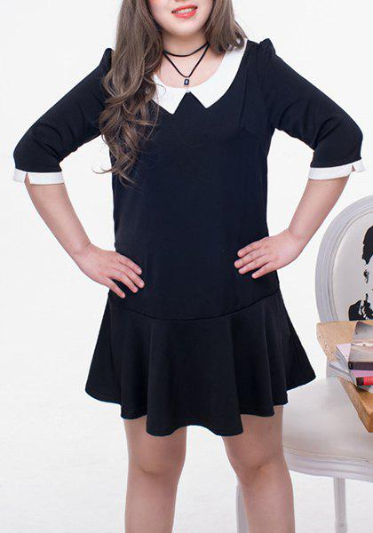 15% OFF] Sweet Half Sleeve Peter Pan Collar Color Black Women\'s Plus ...