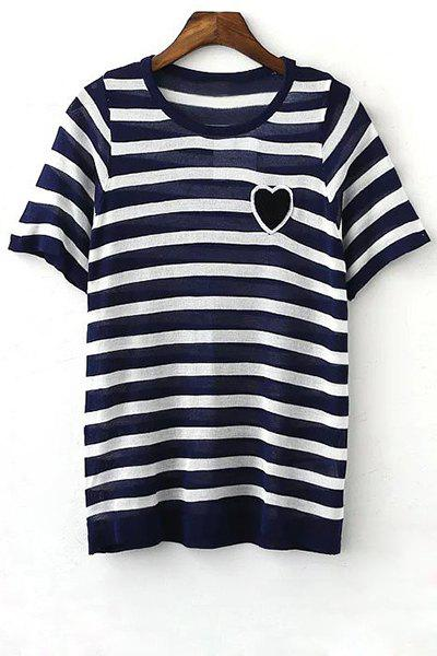 Fashion Stylish Round Neck Short Sleeve Striped Knit Women's T-Shirt