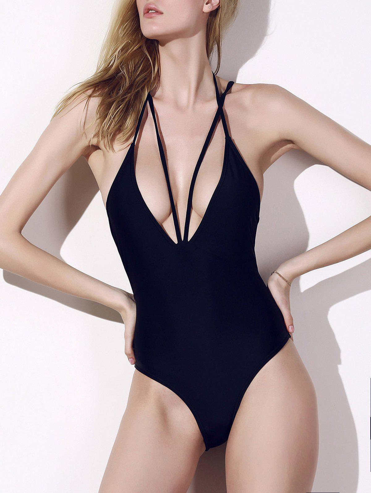 6f2070605 67% OFF] Plunge Cage Low Back Swimsuit | Rosegal