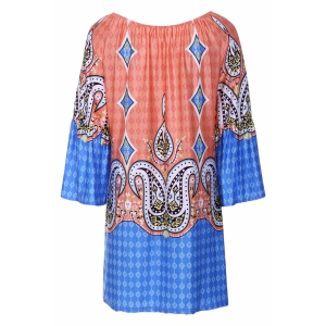 Bohemian Style Scoop Neck Flare Sleeve Printed Dress For Women -