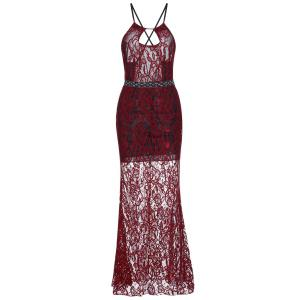 Sheer Backless Fitted Lace Maxi Prom Dress - Red - S