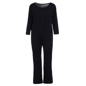 Elegant Round Neck Black Jumpsuit For Women