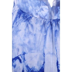 Chic Spaghetti Strap Sleeveless Tie Dye Women's Dress - BLUE XL