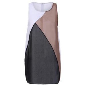 Fashionable Round Collar Sleeveless Color Block Bodycon Dress For Women