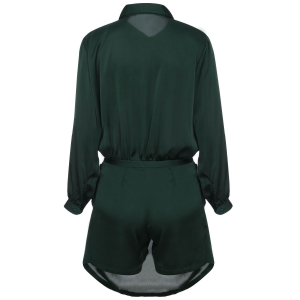 Brief Polo Collar Army Green Long Sleeve Romper For Women - ARMY GREEN M