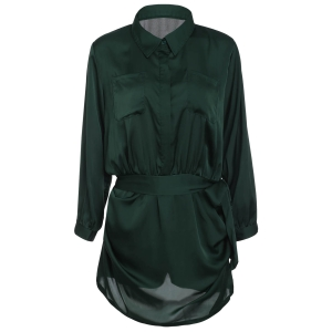 Brief Polo Collar Army Green Long Sleeve Romper For Women
