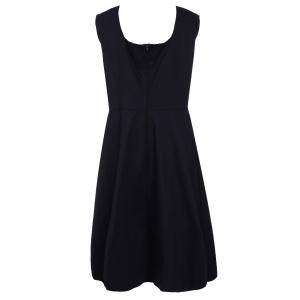 Retro Style Square Neck Sleeveless Solid Color Ball Gown Dress For Women - BLACK 3XL