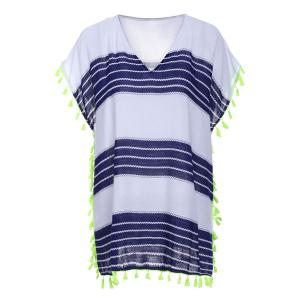 Stylish V-Neck Short Sleeve Striped Fringed Cover-Up For Women - Blue And White - One Size(fit Size Xs To M)