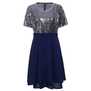 Plus Size Sequin Sparkly Skater Dresses