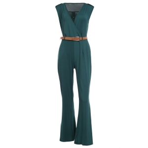 Trendy Plunging Neck Sleeveless Solid Color Epaulet Women's Jumpsuit