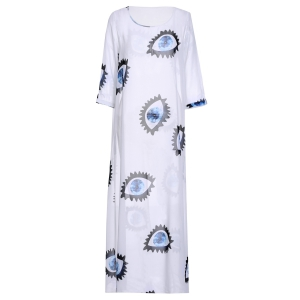 Three Quarter Sleeve Eyes Printed Tee Maxi Dress - White - Xl