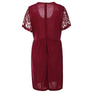 Stylish Scoop Neck Lace Splicing Short Sleeve Plus Size Dress For Women -