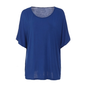 Trendy Scoop Neck Batwing Sleeve Solid Color Loose-Fitting Women's T-Shirt