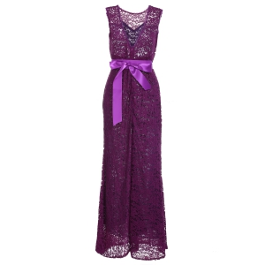 Backless Lace Long Formal Evening Dress - Purple - 2xl