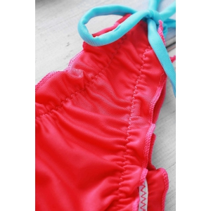 Halter Laciness Spliced Women's String Bikini Set - RED M