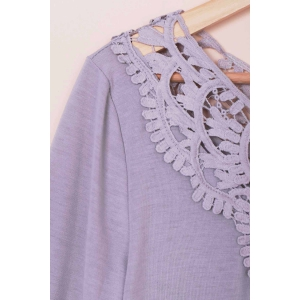 Attractive Solid Color Hollow Out Crochet 3/4 Sleeve T-Shirt For Women -