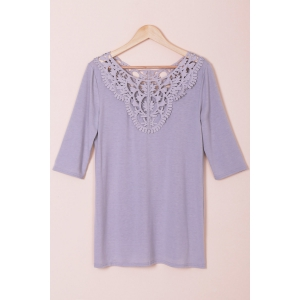 Attractive Solid Color Hollow Out Crochet 3/4 Sleeve T-Shirt For Women