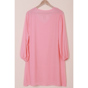Graceful V-Neck Long Sleeve Loose-Fitting Hollow Out Women's Dress -