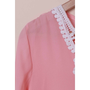 Graceful V-Neck Long Sleeve Loose-Fitting Hollow Out Women's Dress - PINK M