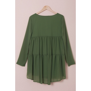 Elegant Scoop Collar Long Sleeves Loose-Fitting Chiffon Dress For Women - GREEN S