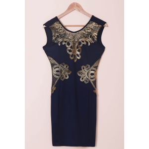 Chic Women's Lace Cut Out Splicing Bodycon Dress